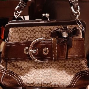 Coach  rare kiss lock satchel